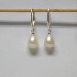 Kolczyki wiszące perły naturalne biel PP20-1