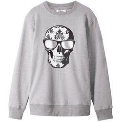 Bluza z modnym nadrukiem bonprix jasnoszary melanż z nadrukiem