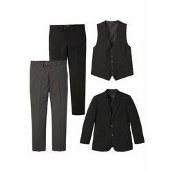 Garnitur 4-częściowy: marynarka + kamizelka + 2 pary spodni bonprix czarno-szary melanż
