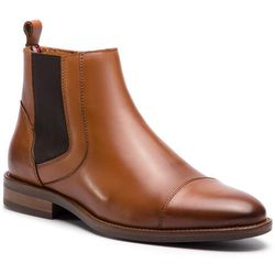 Kozaki TOMMY HILFIGER - Essential Leather Toecap Chelsea FM0FM02140 Winter Cognac 906