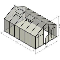 Szklarnia Sanus XL-12 wymiar 2,9x4,3m H=2,25cm 12,5m2 szkło hartowane 4mm