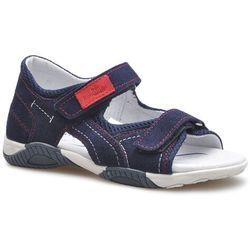Sandały dziecięce RenBut 31-4401 Granatowe/Czerwone zamsz