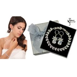 Kpl879 komplet ślubny, biżuteria ślubna z cyrkoniami b599/424 k599/521