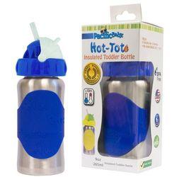 PACIFIC BABY Butelka ze słomką Hot-Tot - 265 ml - Srebrno niebieska - BEZPŁATNY ODBIÓR: WROCŁAW!
