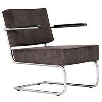 Krzesła, Zuiver Krzesło Lounge RIDGE RIB ARM szare 3100015