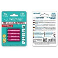 Akumulatorki, Esperanza 1000mAh 4 szt. AAA Czerwone (EZA102R) Darmowy odbiór w 19 miastach!