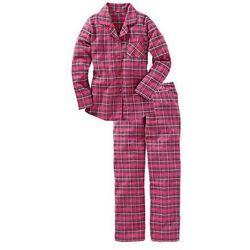 Piżama flanelowa bonprix różowy w kratę