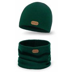 Komplet chłopięcy czapka i komin PaMaMi- Butelkowa zieleń