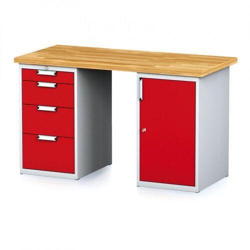 Stoły warsztatowe, Stół warsztatowy MECHANIC, 1500x700x880 mm, 1x 4 szufladowy kontener, 2x szafka, szary/czerwony