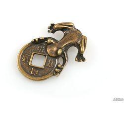 FIGURKA ŻABA PORTFELOWA talizmany symbole chińskie kolor stare złoto orient