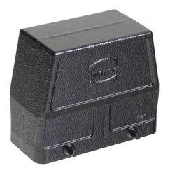 Harting 19-30-716-0527 Czarna obudowa wtyczki, rozmiar 16B, wejście boczne M32, konstrukcja wysoka, cztery kołki; kompatybilne wkłady: m.in. 72 piny (Han 72DD), 40 pinów (Han 40D), Modularne