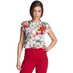 Bluzka z subtelnym pęknięciem bez rękawów - kwiaty/ecru - B97