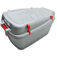 Bagażniki rowerowe do samochodu, Kufer na bagażnik CARGO duży srebrny-uchwyty czerwone