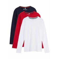 Shirt chłopięcy z długim rękawem (3 szt.) bonprix czerwony + ciemnoniebieski + biały