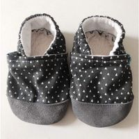 Butki dla niemowląt, Papcie Titot - rozmiar 12-18 miesięcy - Graphite Tipi ze skórką