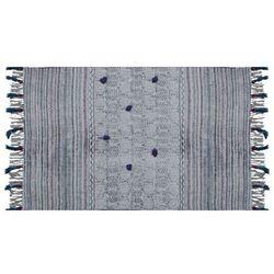 Dywan GREY z frędzlami w stylu rustykalnym – 100% bawełny – 120 × 170 cm – kolor szary