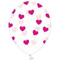 Balony, Balony przeźroczyste Serduszka różowe - 30 cm - 6 szt.
