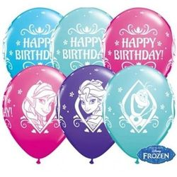 "Balon QL 11"" Anna, Elsa & Olaf Happy Birthday, mix wzorów i kolorów"