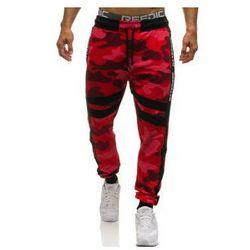 Spodnie męskie dresowe joggery moro-czerwone Denley 0877