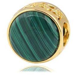 Pozłacany okrągły srebrny charms do pandora zielony malachit srebro 925 BEAD264