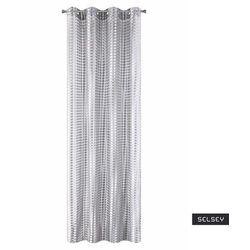 SELSEY Firana na przelotkach Kergal 140x250 cm o strukturze siateczki o grubych oczkach srebrna