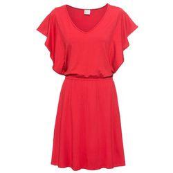 Sukienka letnia z dżerseju z rękawami z falban bonprix truskawkowy