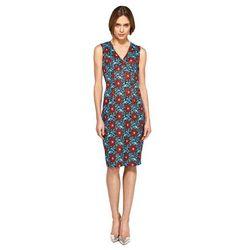 Ołówkowa sukienka z dekoltem V - kwiaty - S98