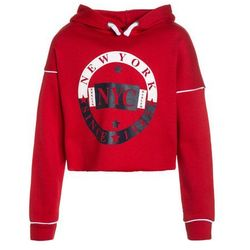 New Look 915 Generation PIPED SLEEVE NY 1985 RAW EDGE HOODY Bluza z kapturem red