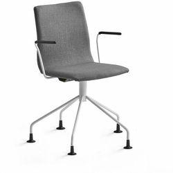 Krzesło konferencyjne OTTAWA, nogi pająka, podłokietniki, szara tkanina, biały