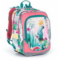 Dwukomorowy plecak z papugą i przywieszką Topgal ENDY 21002 G