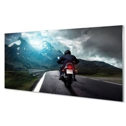 Szklany Panel Motocykl góry droga człowiek niebo