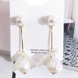 Kolczyki perłowe kwiaty złote - ZŁOTE