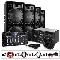 Głośniki i monitory odsłuchowe, Electronic-Star Bass First Pro, yestaw PA DJ, 2 x amplituner, 4x kolumny mikser, 4000 W