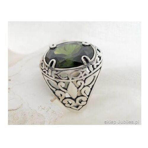 Pierścionki i obrączki, Srebrny pierścień, sygnet z oliwinem leon