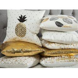 Poduszka dekoracyjna liście bawełniana czarna/złota 45 x 45 cm