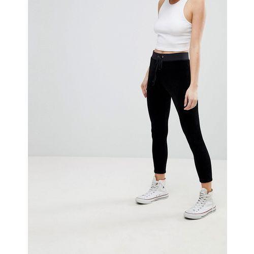 Spodnie damskie, Juicy Couture Black Label Trk Stretch Velour Legging - Black