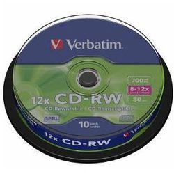 Verbatim CD-RW [ cake box 10 | 700MB | 12x ] 43480 - odbiór w 2000 punktach - Salony, Paczkomaty, Stacje Orlen