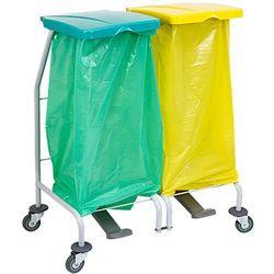 Wózek na odpady podwójny z otwieranymi pokrywami przyciskiem pedałowym Stelaż na kółkach do worków na śmieci