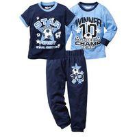 Spodnie dziecięce, Shirt + t-shirt + spodnie dresowe (3 części) bonprix niebiesko-ciemnoniebieski