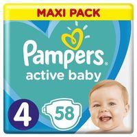 Pieluchy jednorazowe, Pampers Active Baby Rozmiar 4, 58 pieluszek, 9-14 kg