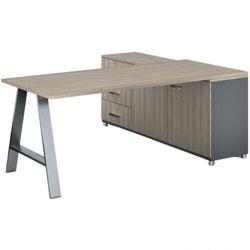 Biurowy stół roboczy ALFA A z szafką po lewej, blat 1800 x 800 mm, naturalny dąb
