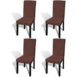 vidaXL Elastyczne pokrowce na krzesła w prostym stylu brąz 4szt. Darmowa wysyłka i zwroty