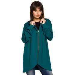 Zielona Bluza Asymetryczna z Kapturem