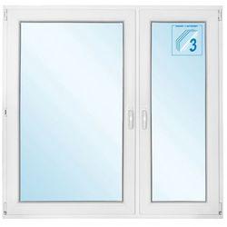 Okno PCV rozwierne + rozwierno-uchylne trzyszybowe 1465 x 1435 mm prawe