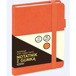 Notatnik A6/80K kratka z gumką pomarańczowy GRAND