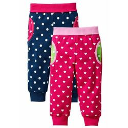 Spodnie dresowe niemowlęce (2 pary), bawełna ekologiczna bonprix ciemnoróżowy + ciemnoniebieski