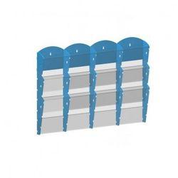 Plastikowy uchwyt ścienny na ulotki - 4x3 A5, niebieski