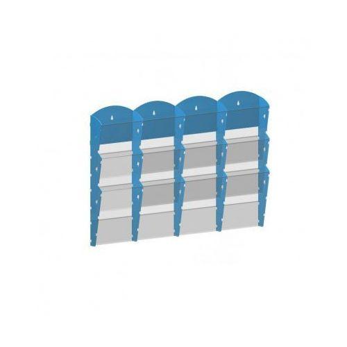 Ramy,stojaki i znaki informacyjne, Plastikowy uchwyt ścienny na ulotki - 4x3 A5, niebieski
