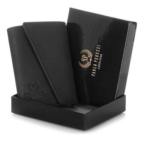Portfele i portmonetki, Czarny portfel skórzany męski in-10 paolo peruzzi
