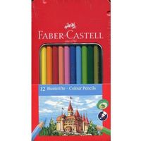 Kredki, Kredki ołówkowe zamek 12 kolorów metalowe opakowanie